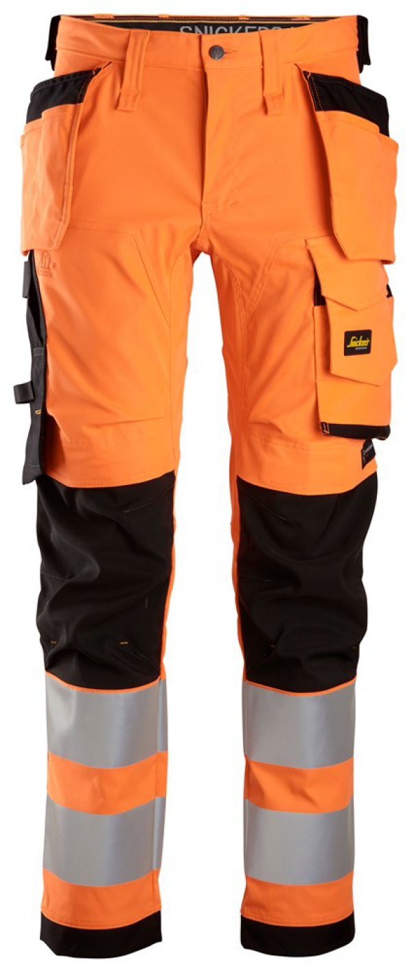 AllroundWork, High-Vis Stretch Trousers Holster Pockets Class 2
